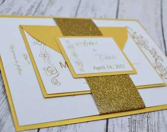 Gold Traditional Wedding Invitation Thermography (Raise Ink)