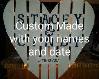 Wedding Decor - Custom made pallet heart  - made to order