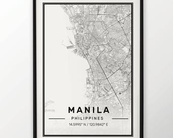 Manila City Map Print Modern Contemporary poster in sizes 50x70 fit for Ikea frame 19.5 x 27.5 All city available London New York Paris