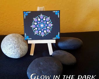 "BarbaraMandalaTFS#52  Mandala ""Mini"" Canvas#Glow in the dark#9x7cm#Special Gift"