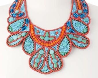 ZAD Turquoise & Red Beaded Bib Necklace