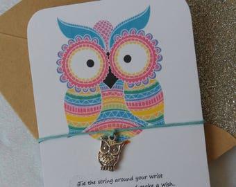 Wish String Bracelet - Colourful Owl