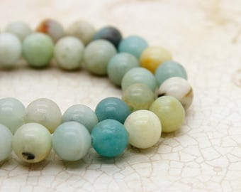 Amazonite Round Gemstone Beads (4mm 6mm 8mm 10mm)