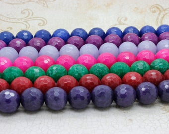 Dye Jade Faceted Round Gemstone Beads 16mm (Purple Red Blue Pink Green Lavender- Full Strand)