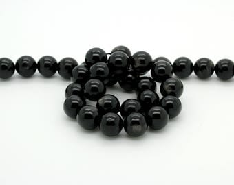 "Natural Genuine AAA Flash Light Black Hypersthene Smooth Round Ball Sphere Loose Beads Jewelry Beads 15.5"" Strand"