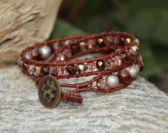 Brown N Copper, Brown Leather Wrap Bracelet, Double Wrap Bracelet, Leather & Crystal Bracelet