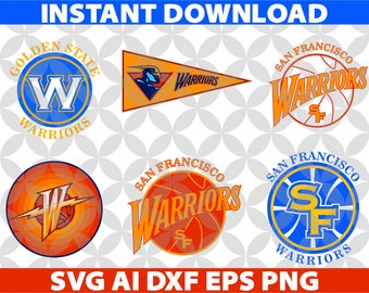 Golden State Warriors SVG, Eps Ai Dxf Png Monogran Silhouete Cricut Clipart Decal, SVG