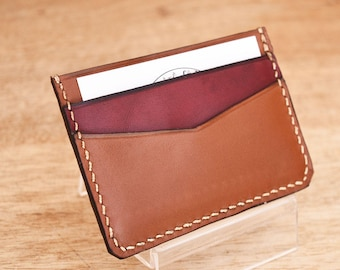 Leather card holder. Brown and Burgundy. 3 pockets.