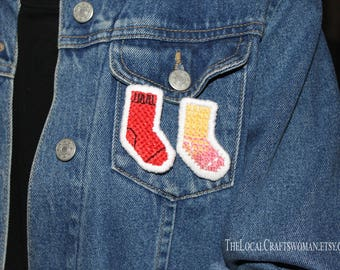 Sock pin/ Embroidery brooch/ Embroidered brooch/ pin/ brooch/ cute pin badge/ Applique/ Cool pin