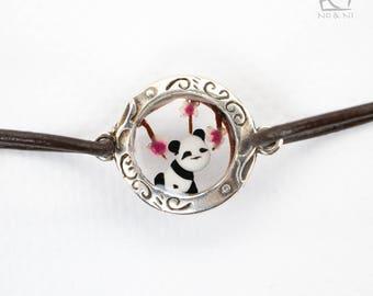 Round silver sakura Bracelet