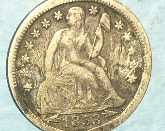 Silver Love Token 1853 Seated Liberty Dime, Full Liberty J.H..Nice  Condition. <>#BCE-66