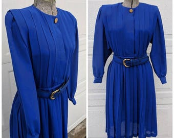 Vintage 80's Pleated Midi Secretary Dress || Long Sleeve Midi Dress w Belt, Small