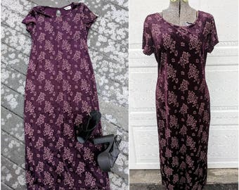 90's Vintage Velvet Purple Full Length Dress || 90's Velvet Rose Print Maxi Dress, Large