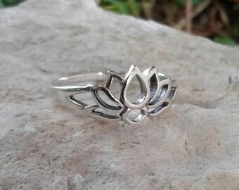 Lotus Flower Ring, Solid Sterling Silver Lotus Ring, Lotus Jewelry, Hindu Jewelry