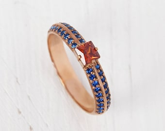Princess cut ring, Garnet ring gold, Red stone ring, Custom stone ring, 14k engagement ring, Gold engagement ring, Women engagement ring