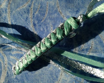Ribbon Barrette / Mint and Silver