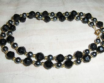 Glass Pearls necklaces - Silver/Gray, Smoke, Jet Black