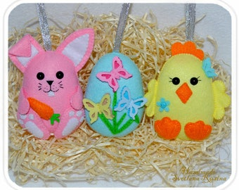 Easter sheep easter lamb in gift box cute felt easter ornament set of 3 cute felt easter ornaments easter egg easter bunny easter chicken in gift box negle Images