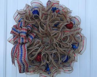 Patriotic deco mesh wreath, 4th of July wreath, deco mesh wreath, patriotic decor, patriotic wreath, 4th of July decor, ruffle wreath