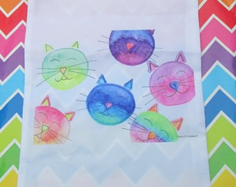 Nylon bag, bag shoe bag reusable use multiple cats bubbles pattern