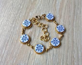 Portuguese antique majolica tiles replica bracelet, small round tiles, tiles bracelet, blue and gold bracelet, Portugal, azulejo bracelet