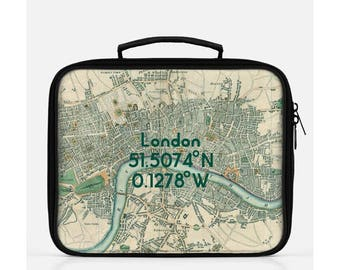 London Lunch Box, Vintage London Map Lunch Box, Retro London Map Lunch Box, London Gift, Cute Lunch Box, Reusable Lunch Box,