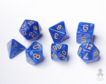 Blue Dice - Dungeons and Dragons - Pathfinder - Blue Pearl Dice With Gold Number (KD0017)