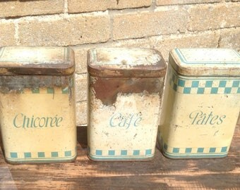 French Vintage Tins, Rustic, Containers, Display, Kitchenalia, Metal, Farmhouse, Storage, Shabby,