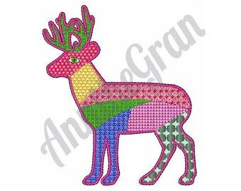 Patchwork Deer - Machine Embroidery Design, Deer - Machine Embroidery Design