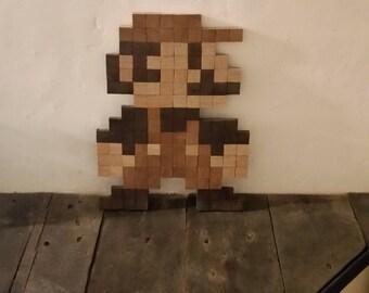Super Mario pixel wood to hang