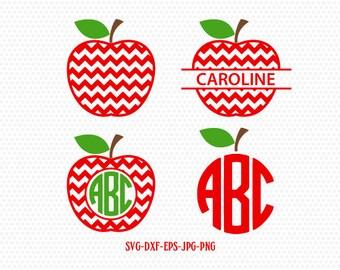 Teacher Svg, Apple Svg, Apple Monogram Svg,Teacher Monogram Svg,School Svg,Split Apple Svg,for CriCut Silhouette cameo Files svg jpg png dxf