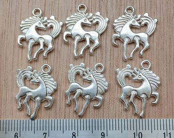 Horse Charms, set of six in a classic style. Dancing Horse Charms, Silver Horse Charms:UK Charm Seller
