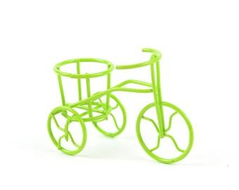 "Lime Green Tricycle Bike, 2.35"" x 1.5"" - Metal -  Miniature Fairy Garden Dollhouse"