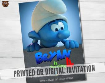 Smurfs Printed Invitation, Smurfs Invitation, Smurfs Invite, Smurfs Birthday,  Smurfs  Printable, Smurfs Digital, Smurfs,  HBS 24 Smurfs