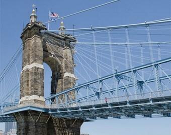 John A. Roebling Suspension Bridge Print / Suspension Bridge Photo / Wall Decor / Cincinnati Ohio Print / Fine Art Print Cincinnati