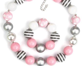 Pink white and grey infant bubblegum necklace set