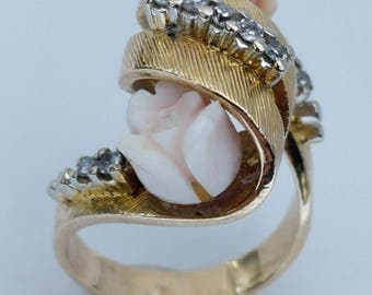 9ct Yellow Gold, Coral & Diamond Ring