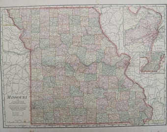 1914-Missouri Antique Map- Lovely 103 year old, vintage map of Missouri - Home Décor