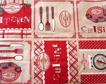 """Fabric """"recipes of yesteryear Kitchen"""" cotton"""