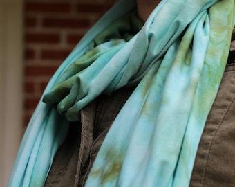 Splashed Green & Blue scarf