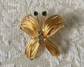 Direction One Butterfly Brooch Pin Gold tone with Rhinestones