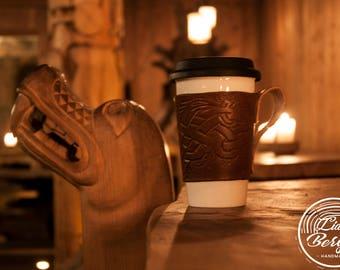 Hand Made Leather Coffee Travel Mug Sleeve