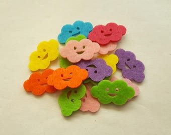50pcs 23mmx35mm Clouds Die Cut Felt Patches Handmade Pad Sewing Craft Supplies