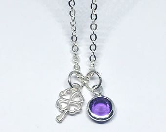 Personalised Four Leaf Clover and Birthstone Necklace, Luck Jewellery, Birthstone Charm Necklace, Bridesmaid gift, Birthday Gift for Her, Uk