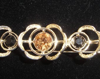 Sarah Coventry Gold Rhinesone Brooch / Pin --      #30