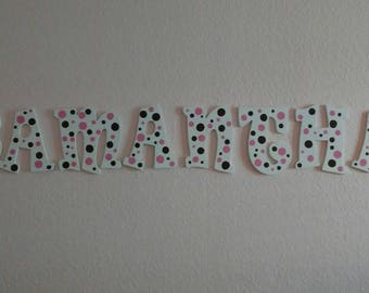 Personalized polka dot wooden name or initials