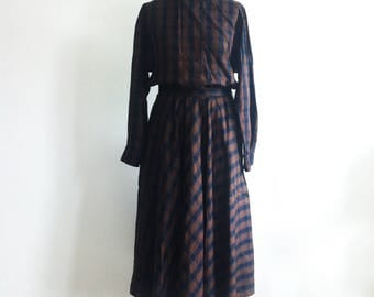 1980 cotton blouse & skirt set with check motif brown