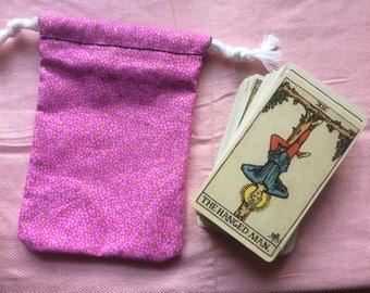 Pink With Gold Flecks Drawstring Tarot Deck Bag