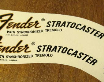 Fender Stratocaster Headstock Decal set 1968 - 1975 Waterslide Headstock Decals Water Transfer Strat Decal Vintage Guitar