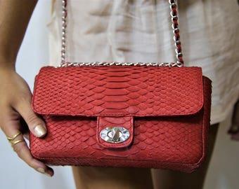 Snakeskin Bag, Python Bag, Snakeskin Leather, Snake Skin Bag, Leather Bag, Evening Bag, Python Handbag, Snakeskin Handbag